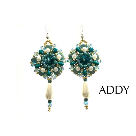 NEW FREE PATTERN OF LOVELY EARRINGS WITH GINKO BEADS AND SUPERDUO BEADS